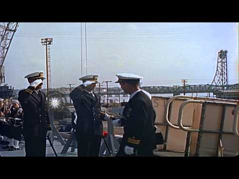 Marine Honor Guards salute guests at commissioning ceremony of United States Ship...HD Stock Footage