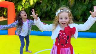 Nastya y su amigos teniendo divertidas actividades al aire libre
