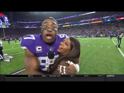 Absolutely Stunned Everson Griffen's Winning Postgame Interview   Saints vs Vikings   Jan 14, 2018