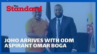 Joho arrives with ODM aspirant Omar Boga for IEBC clearance at Msambweni offices