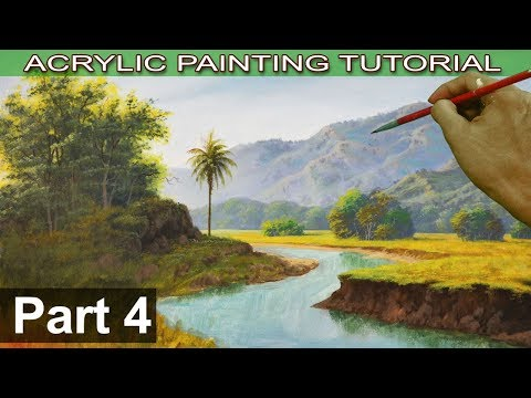 Acrylic Landscape Painting on Bigger Canvas | How to paint Trees, Bushes and Coconut Tree | Part 4