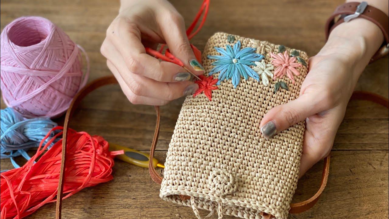 꽃자수 핸폰크로스(꽃수 놓는법/싸개단추 뜨는법)