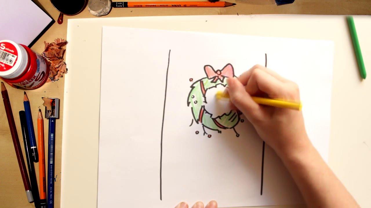Cmo dibujar una corona de Navidad  dibujos de Navidad para nios