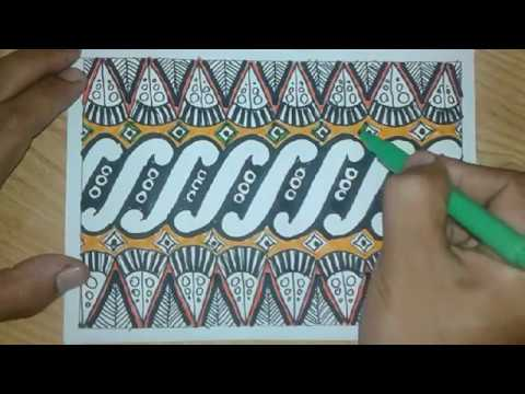 Contoh Gambar Batik Pola Model Liris - YouTube