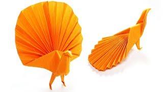 Origami Peacock - Paper Folding / Papier Falten / 종이접기 - Paper Crafts 1101 おりがみ