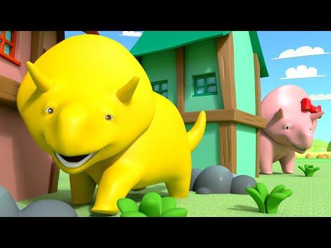 Dino e Dina brincam de esconde-esconde :) Aprenda com Dino o Dinossauro 👶 l Aprender em português