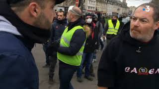 les débordements de la manif de gilets jaunes à Caen 12 janvier