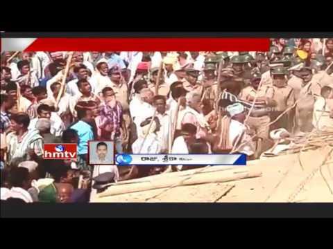 High Tension at Vamsadhar Project   Farmers Huge Protest For Compensation   Srikakulam Dist   HMTV