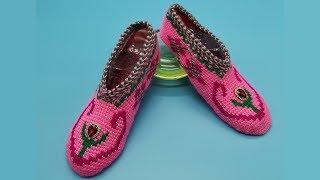 Следки тунисским крючком. Тапочки крючком. Тунисское вязание. (crochet slippers)