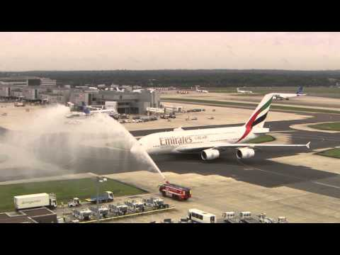 Emirates Airbus A380 landing at London Gatwick Airport