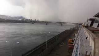 Freak snow storm swallows entire Russian bridge