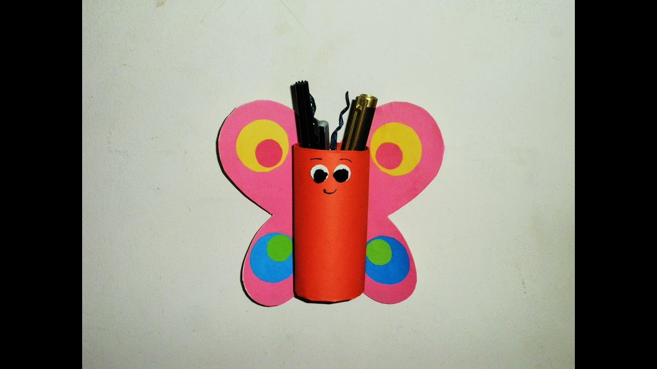 Diy Easy Butterfly Pen Pencil Holder Made With Tissue