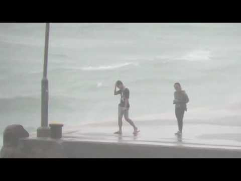 Locals Risk Typhoon Conditions For Snaps at Hong Kong Port