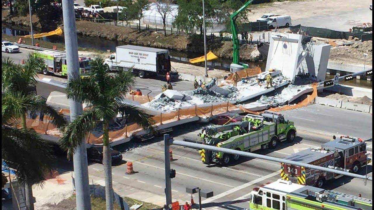 Sập cầu dành cho người đi bộ ở Miami, nhiều người chết