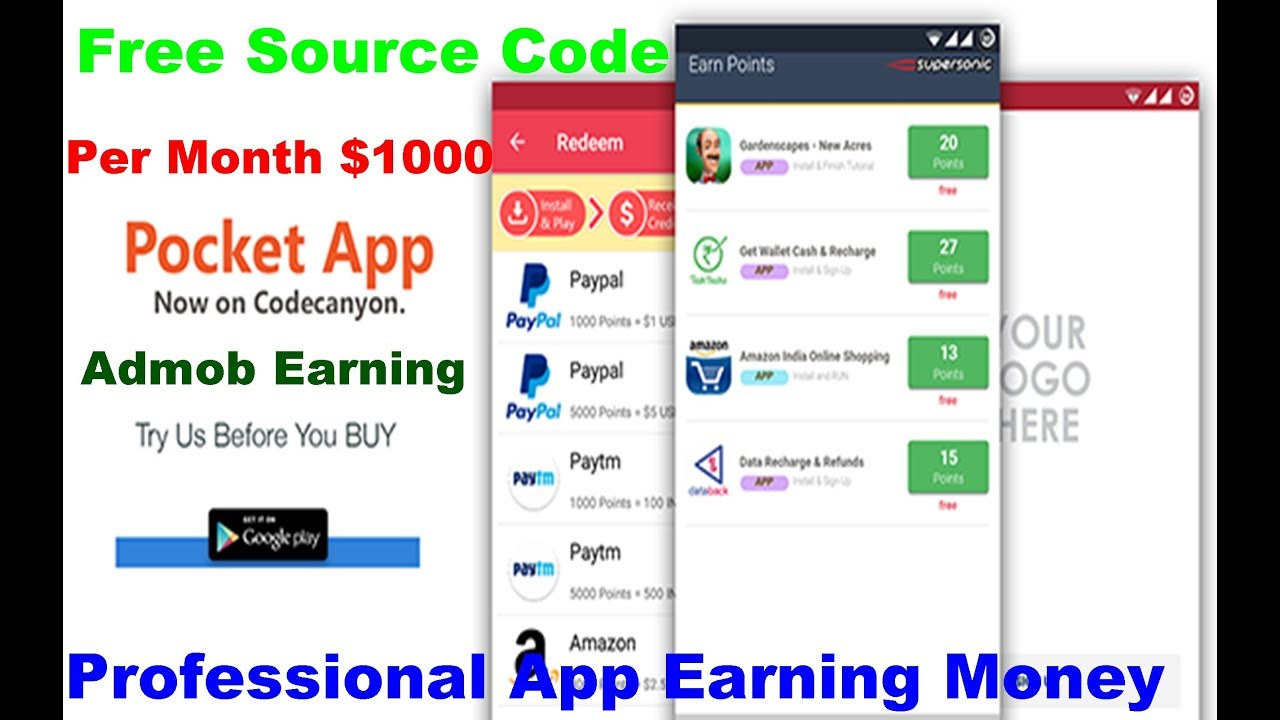 Pocket Reward App Source Code - Earning Money App - Android Studio Free  Source Code - 2019 Tech Tips