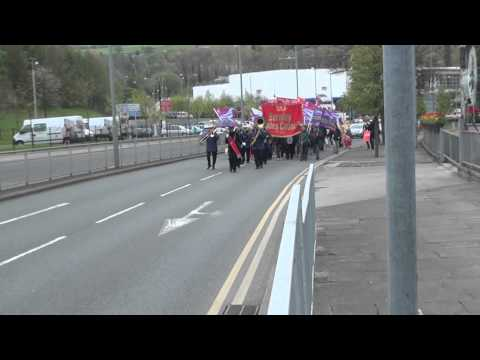 May Day march Burnley 3-D filming
