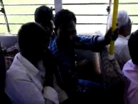 Paddy field of Andhra and boys enjoying in bus