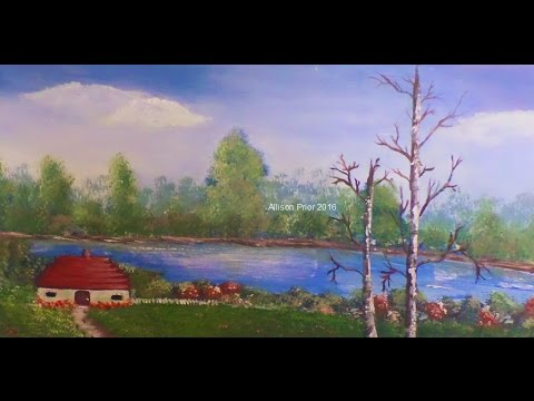 How to Paint a Beautiful Landscape Lesson 2 Step by Step Trees Water Land