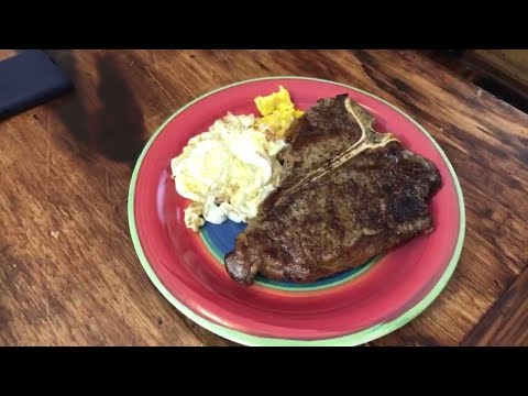 T-Bone Steak And Eggs Recipe Cast Iron And Air Fryer Steak