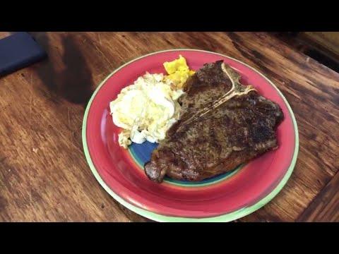 T-Bone Steak And Eggs Recipe Cast Iron And Air Fryer Steak