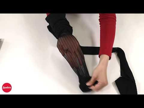 Prezentare ciorapi cu dungi si fundita Fiore Adriana 30 den