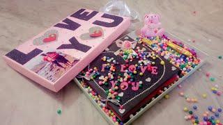 #Gift box combo #Scrapbook greeting card #Photo album #Chocolates #Teddy