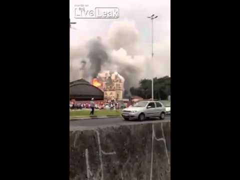 Major fire reaches the Museum of the Portuguese Language in Sao Paulo