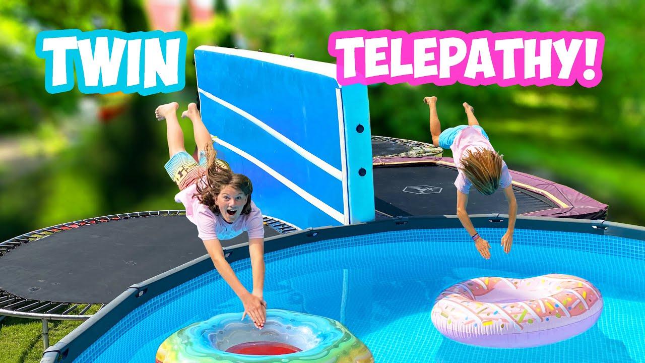 Twin Telepathy TRAMPOLIN POOL Challenge!