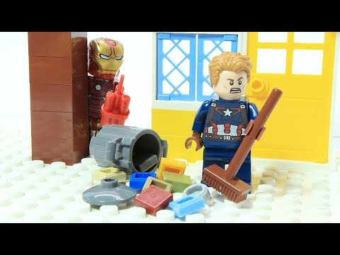 Lego Iron Man Captain America Clean up Prank Superhero Cartoon Animation