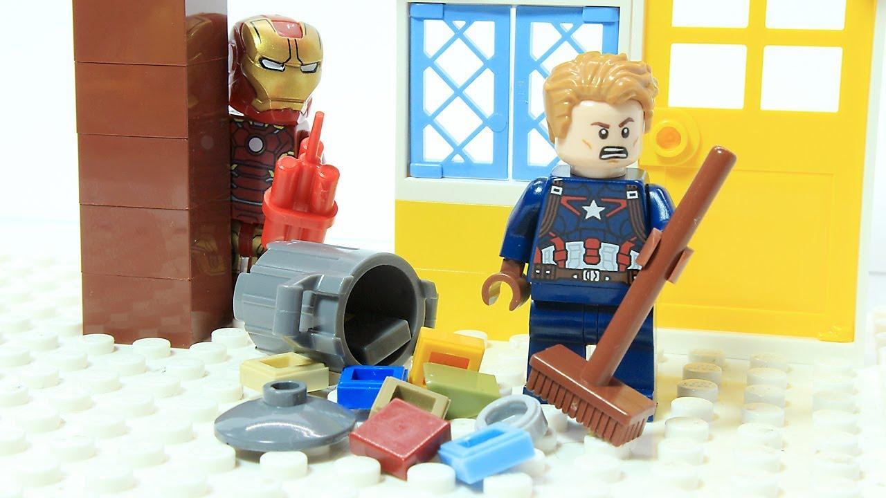 Lego Iron Man Captain America Clean up Prank Superhero Cartoon Animation -  YouTube
