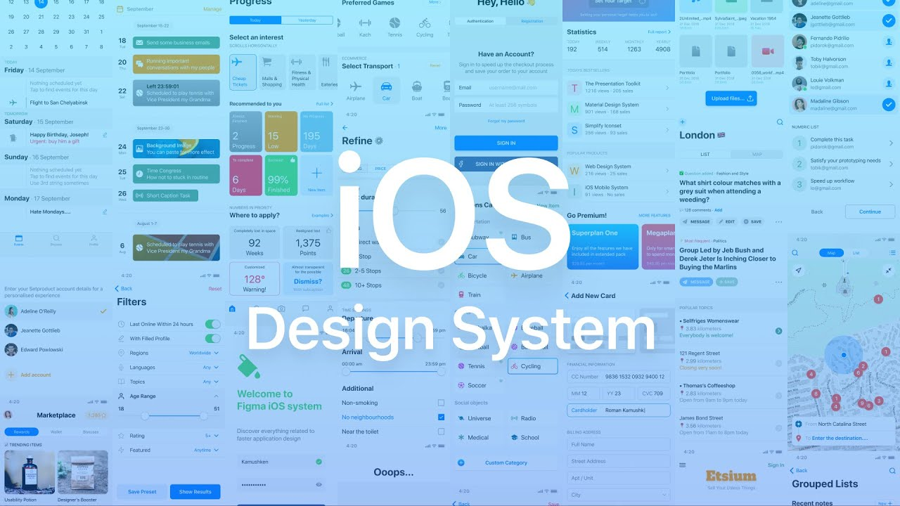 iOS design system  Figma components and templates library