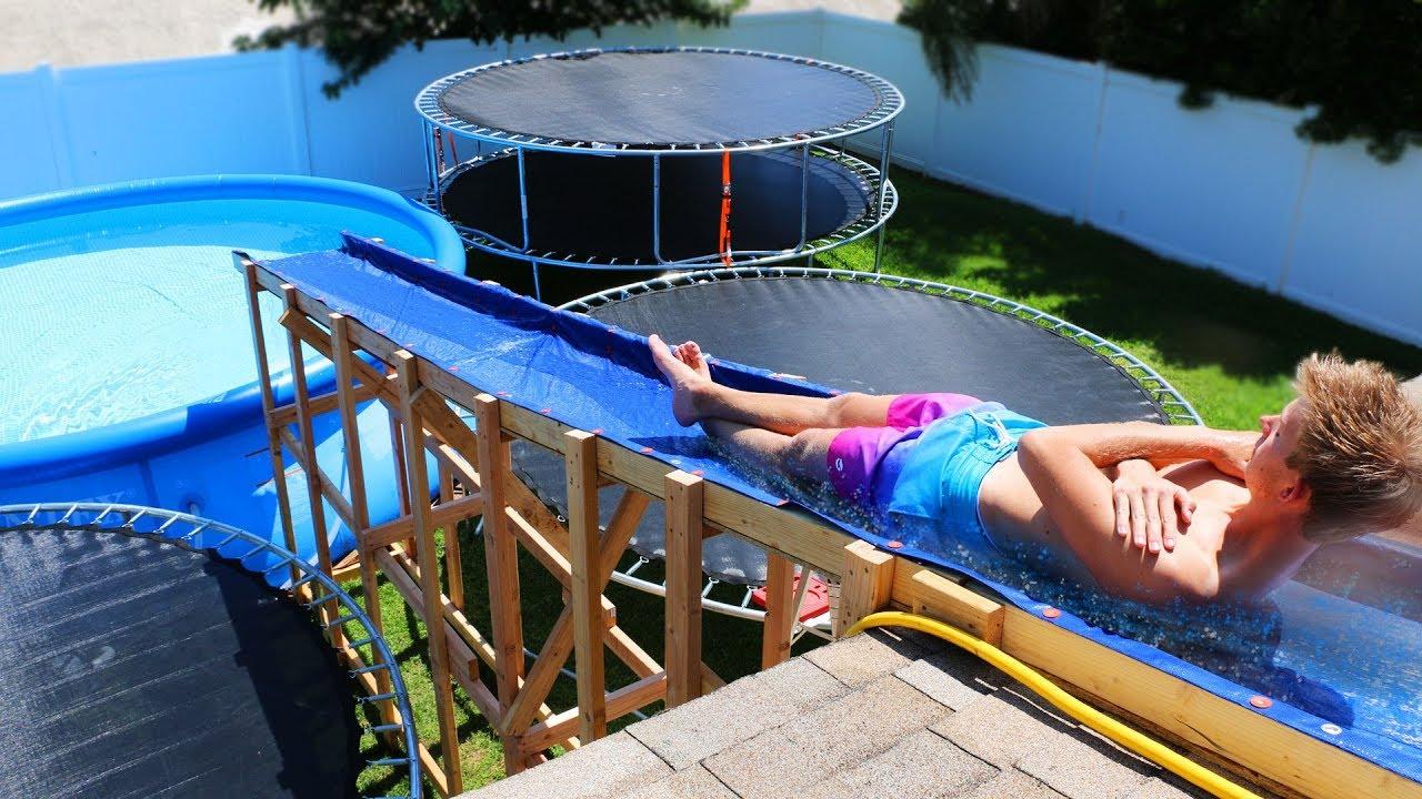 Water Slide In Backyard giant backyard water slide in our trampoline water park!! - youtube