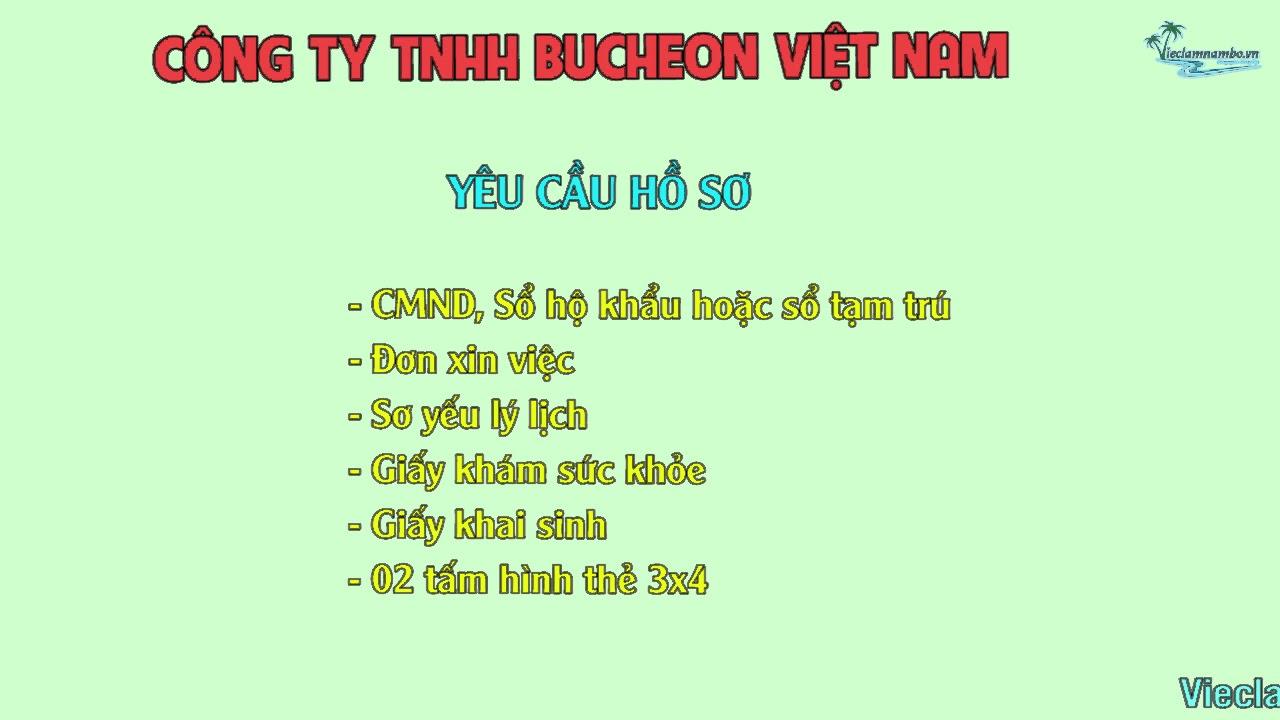 Công ty TNHH Bucheon Việt Nam tuyển 300 Công Nhân Lao Động Phổ Thông