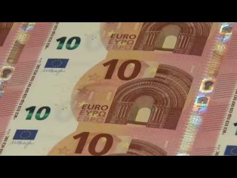 Production of the new 10 Euro banknotes  printing Bills EUR BCE USD Money as Debt