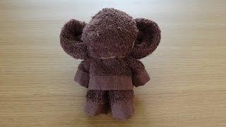How to Make a Towel Cheburashka タオルアート「チェブラーシカ」