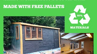 RECYCLED PALLET SHED, WORKSHOP, STUDIO, GYM - DIY