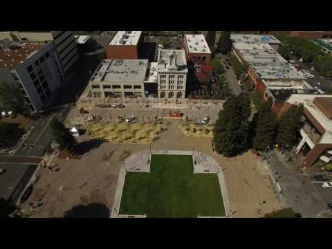 Aerial view of reunified Old Courthouse Square