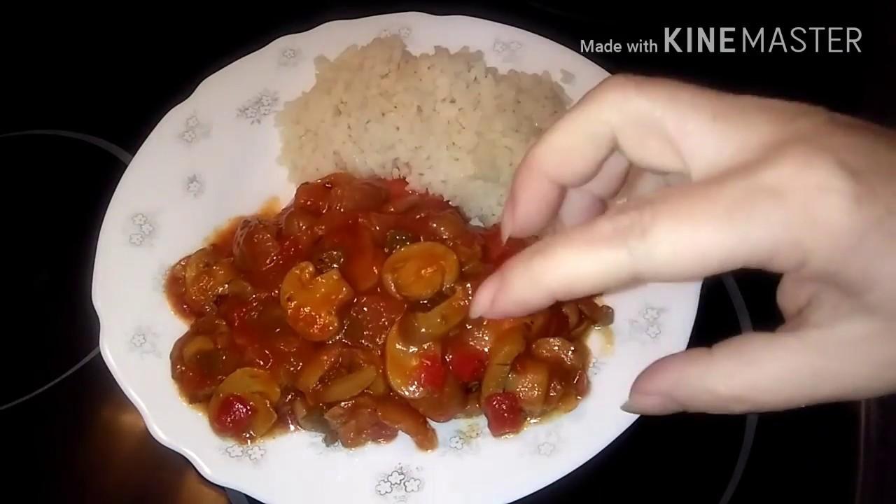 Pechuga de pollo en salsa de tomate y miel con champi ones - Pechuga d pollo en salsa ...