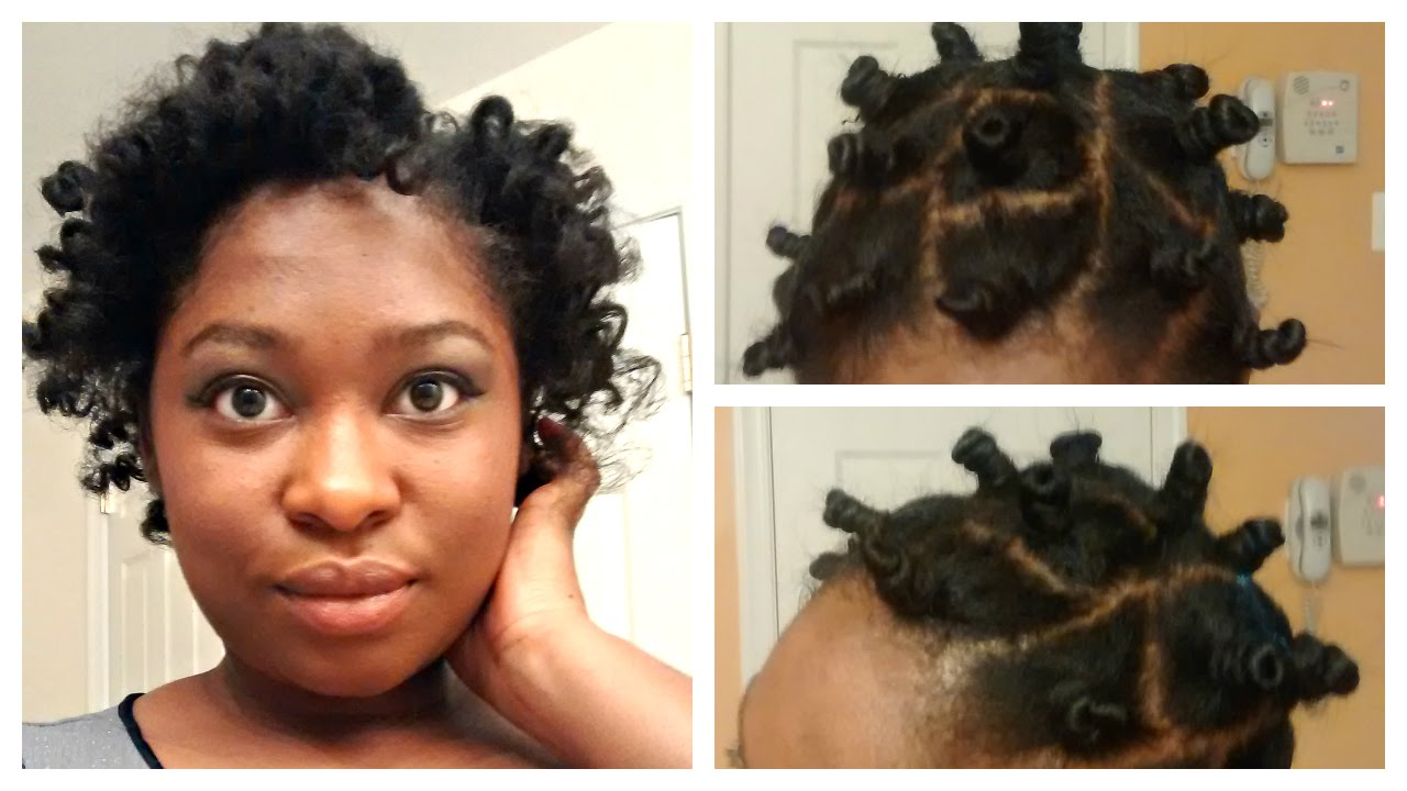 Bantu Knot Out On Short Medium Straightened Natural Hair Youtube
