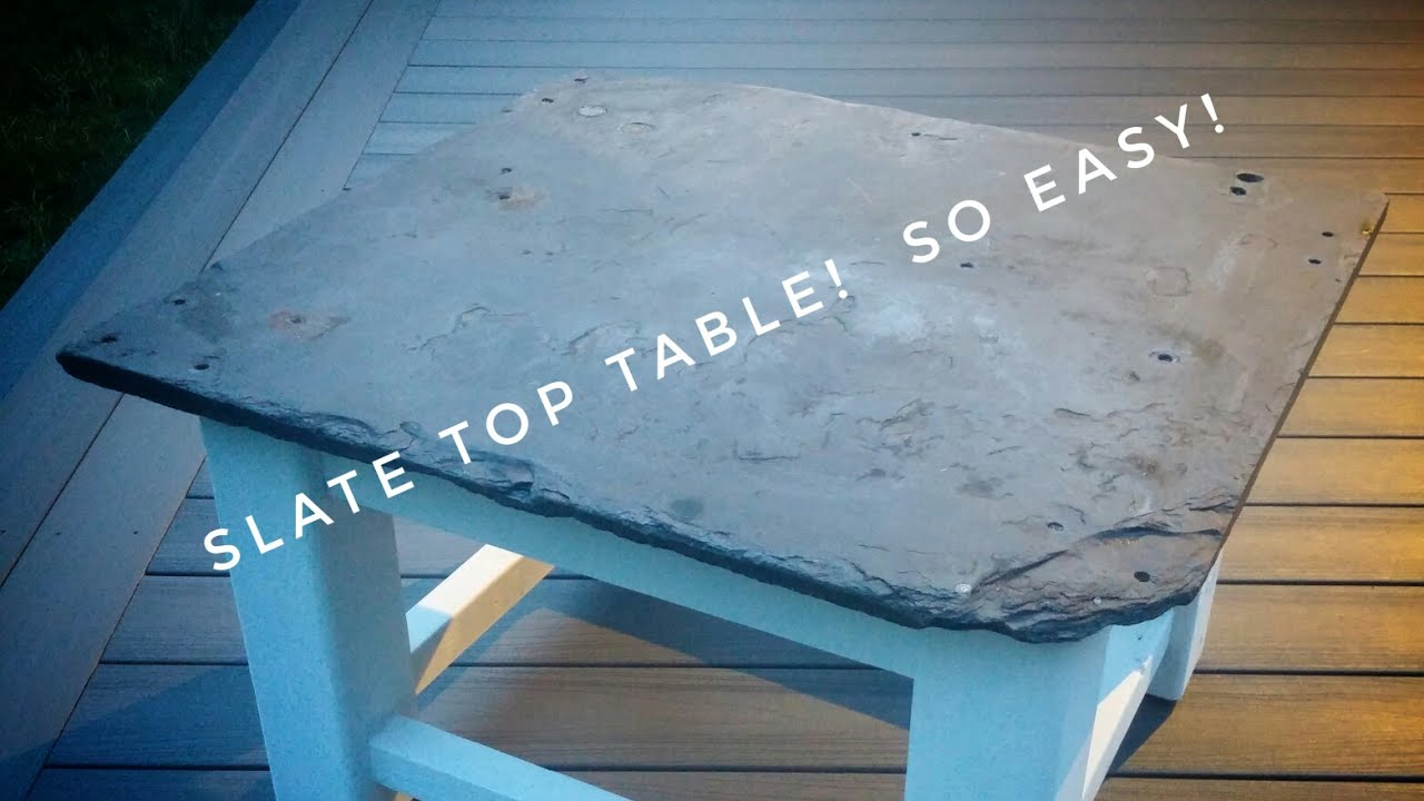 DIY Stone Top Patio Table   With All Recycled Materials!