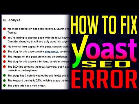 HOW TO FIX YOAST SEO ERROR | WEBSITE MAKING (PART 10)
