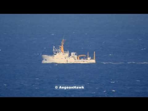 HCG Agios Efstratios 080 monitoring R/V K. Piri Reis escorted by SG 61, northbound Aegean Sea.
