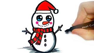 HOW TO DRAW A CHRISTMAS SNOWMAN   COMO DESENHAR UM BONECO DE NEVE