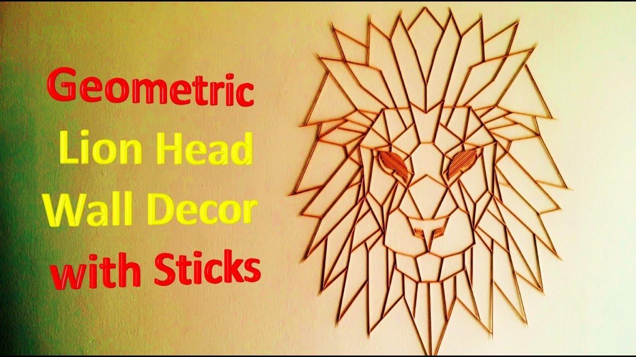 Geometric Lion Head Decor with Skewer sticks - YouTube