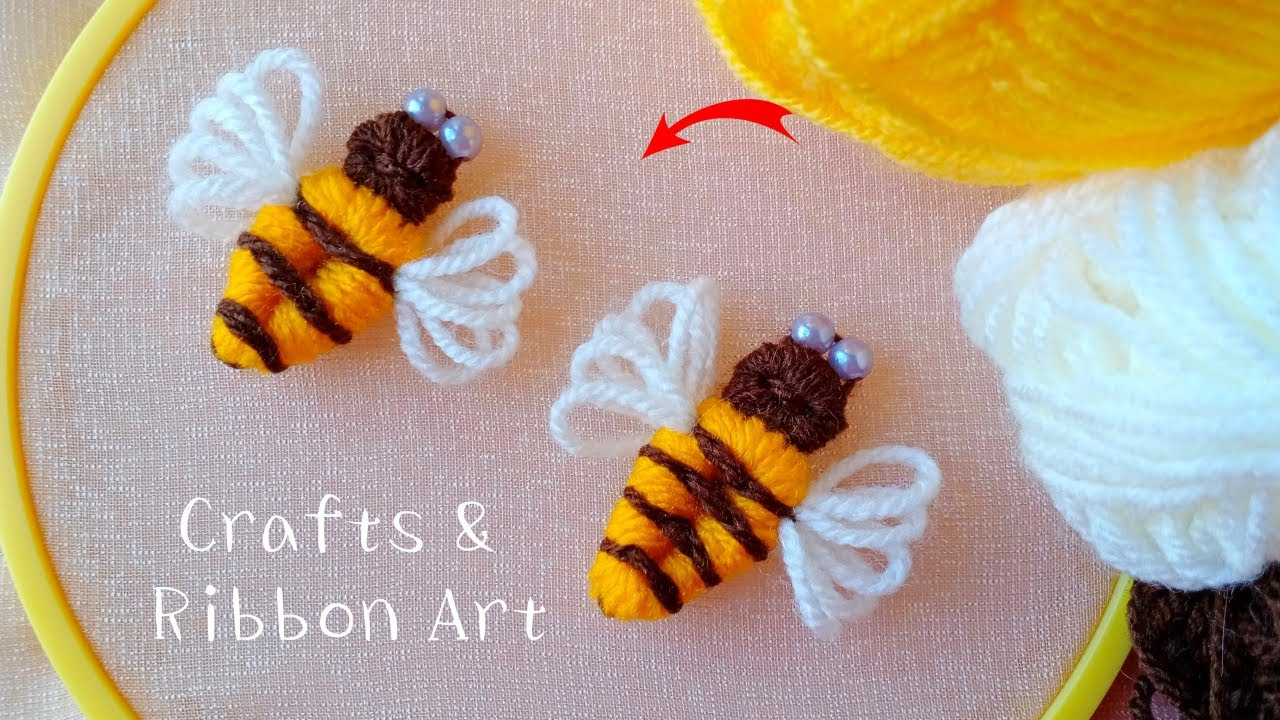 Amazing Bee Making Idea with Wool - Hand Embroidery Trick - DIY Woolen Bees - Easy Craft Ideas