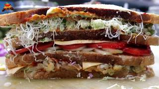 300/- BIG FOUR LAYER Melting Cheese Sandwich | BAAHUBALLI GRILLED SANDWICH Recipe