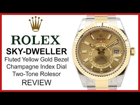 Rolex Sky-Dweller 42mm Two-Tone yellow Gold/Steel, champagne Dial, fluted Bezel - REVIEW 326933