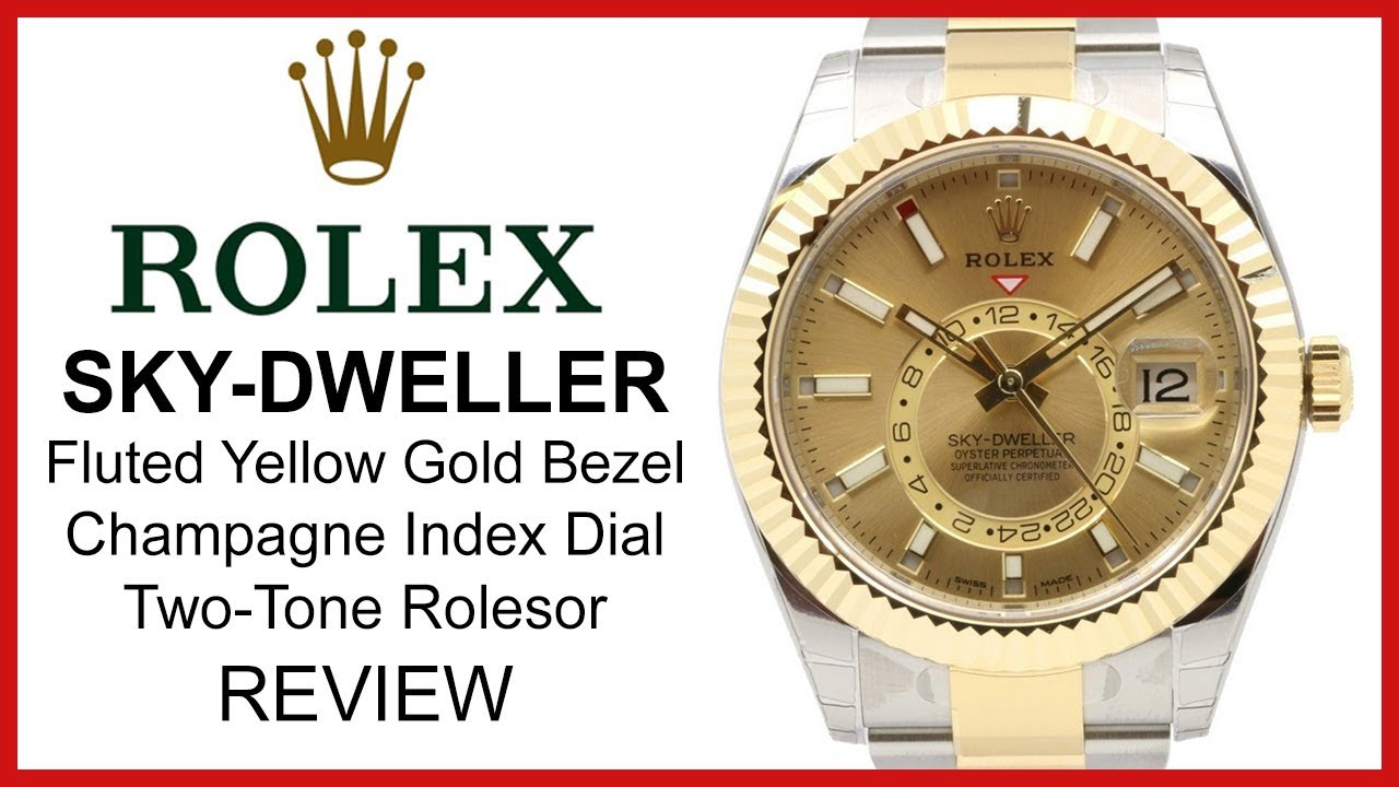 Rolex Sky,Dweller 42mm Two,Tone yellow Gold/Steel, champagne Dial, fluted  Bezel , REVIEW 326933