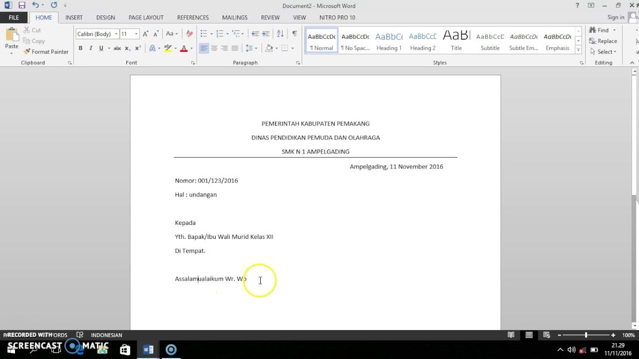 Cara Membuat Surat Resmi Sederhana Menggunakan Microsoft Word Youtube
