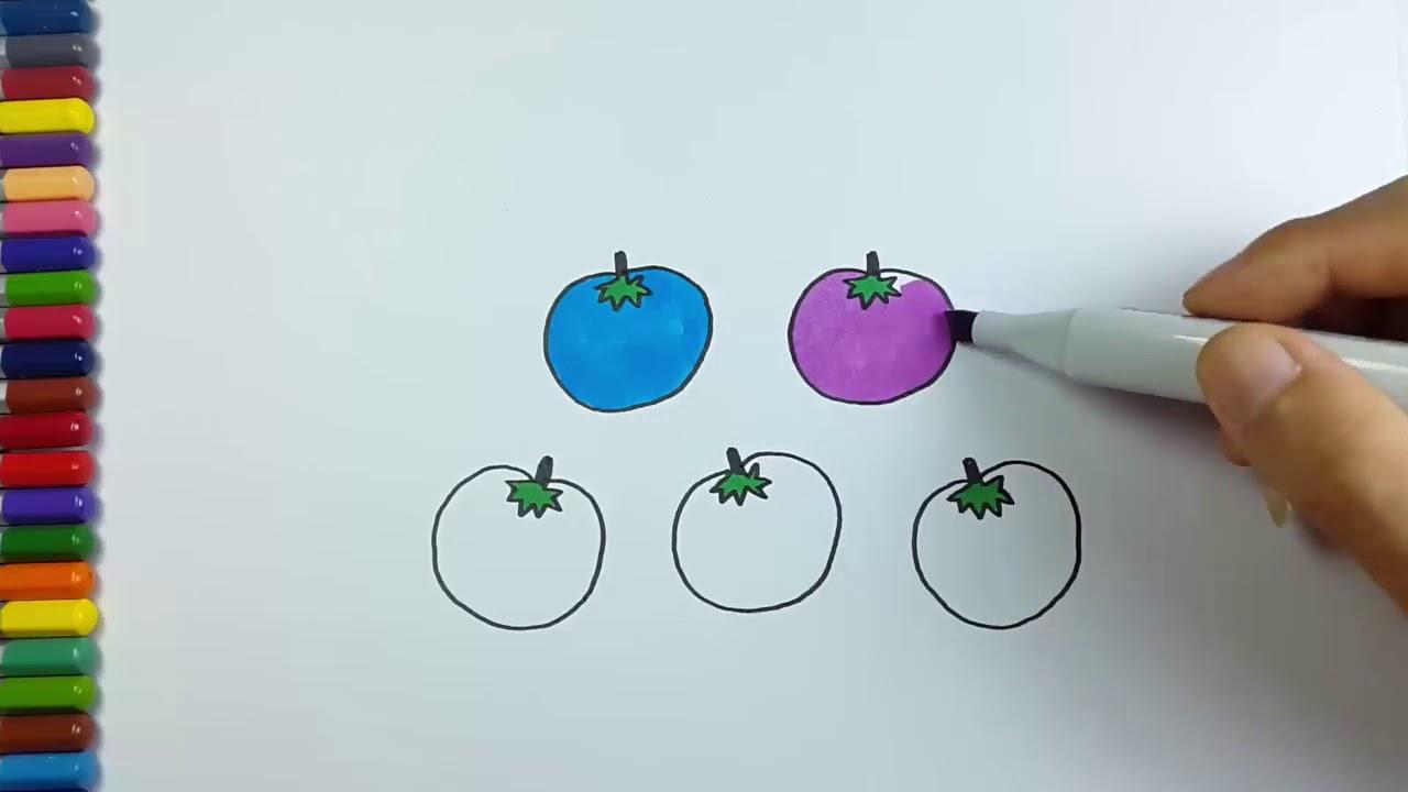 Cara Menggambar Mewarnai Buah Dan Sayur Tomat Youtube
